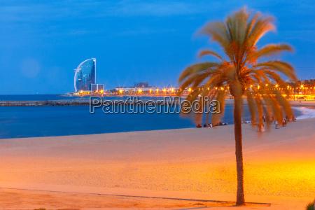barceloneta beach in barcelona at night