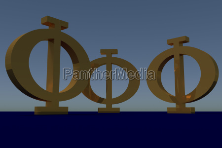 greek phi uppercase letter in blue