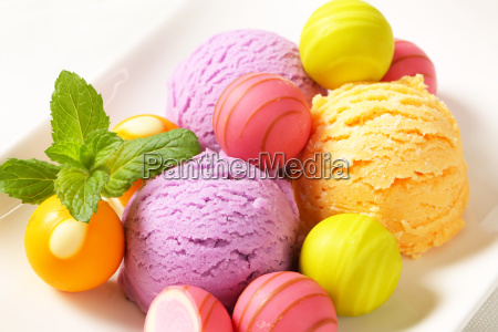 fruit flavored ice cream and pralines
