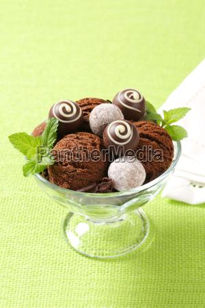 chocolate ice cream and truffles in