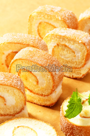 slices of cream swiss roll
