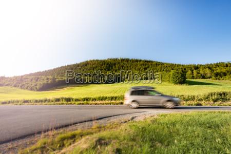 car on road in norway europe