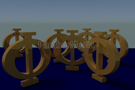 greek phi uppercase letters on blue