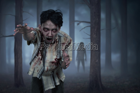 aggressive asian zombies with wounded face