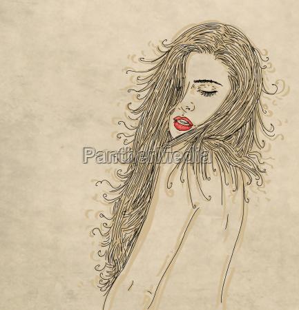 erotic woman cartoon with sepia base