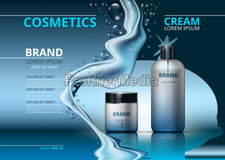 cosmetic realistic package ads template face