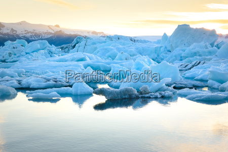 view of icebergs in glacier lagoon