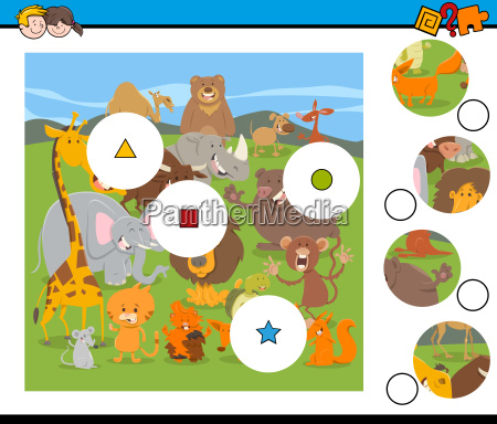 match pieces game with cartoon wild