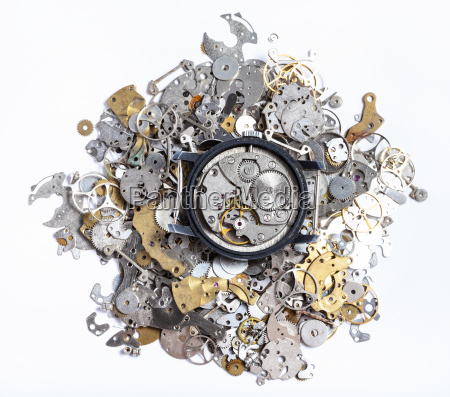top view of mechanic watch on