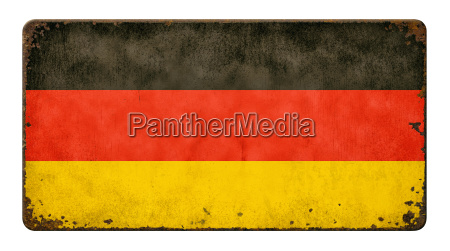 old rusted tin sign flag