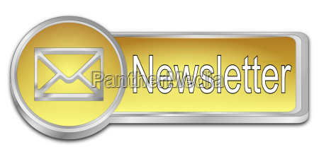 golden newsletter button 3d illustration