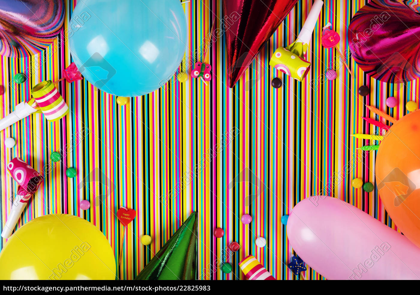 Birthday Party Items On Striped Background With Copy Royalty Free Image 22825983 Panthermedia Stock Agency