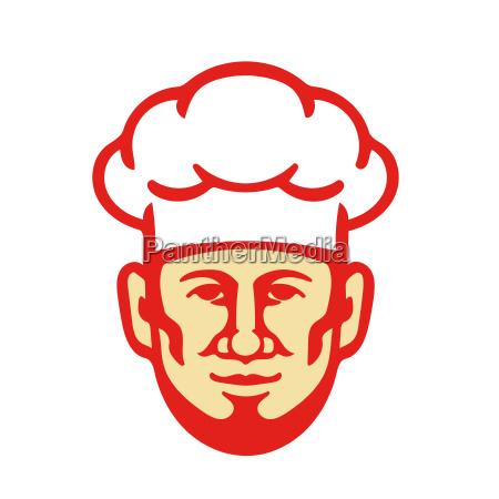 chef cook beard toque hat retro