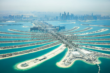 aerial view of palm island in
