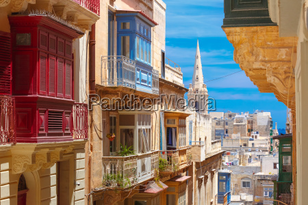 traditional colorful wooden balconies malta