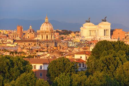 aerial wonderful view of rome at