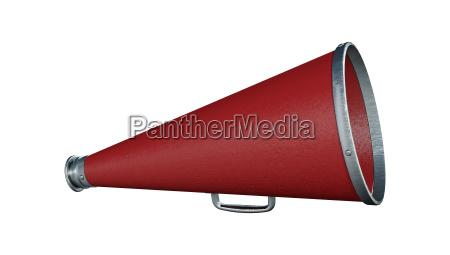 3d rendering red megaphone on white