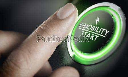 e mobility green car start button