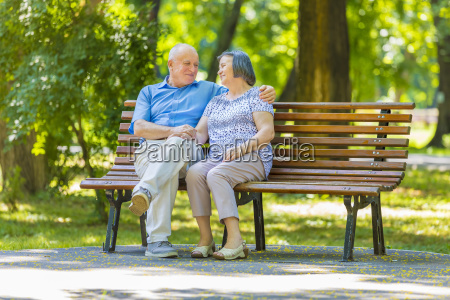 senior couple relaxed talking on the
