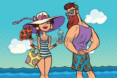 retro couple at the sea young