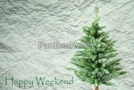 fir tree crumpled paper background text