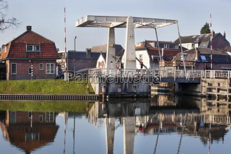drawbridge in woerden in the netherlands