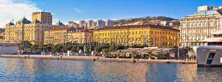 city of rijeka waterfront boats and