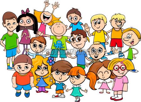 children characters group cartoon illustration