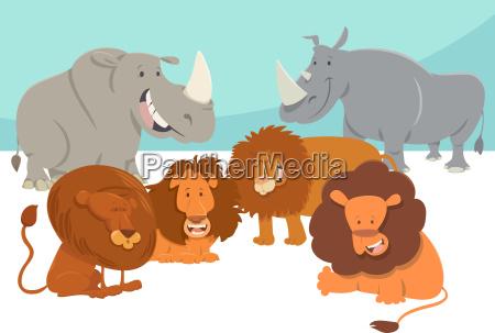 safari animal characters cartoon