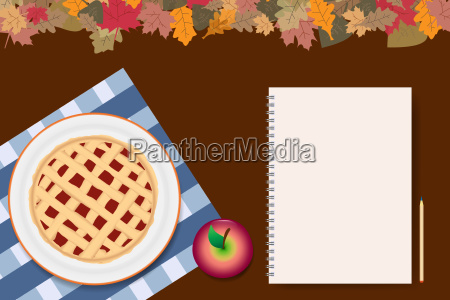 apple pie with blank notepad ready