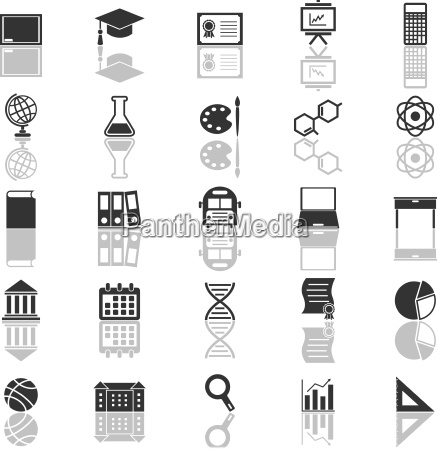 education icons with reflect on white