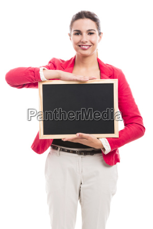 business woman holding a shalk board