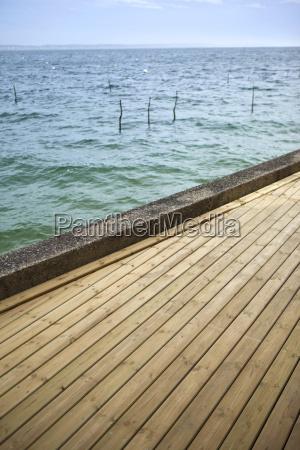 wooden terrace facing the sea