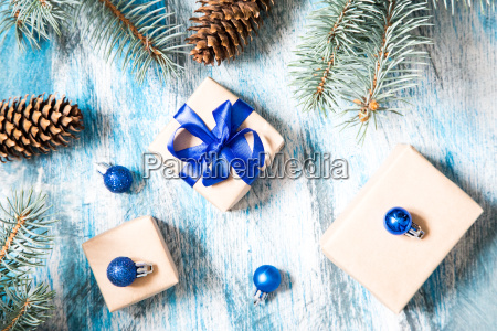 christmas card with gift wrapped and