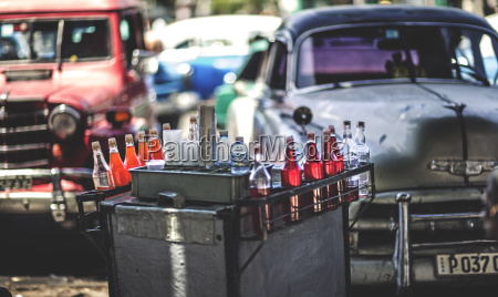 a drinks cart in front of