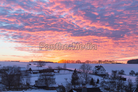 winter landscape with sunset in rhineland