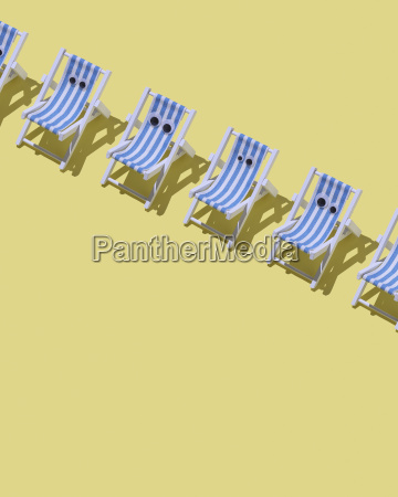 row of beach chairs with eyes