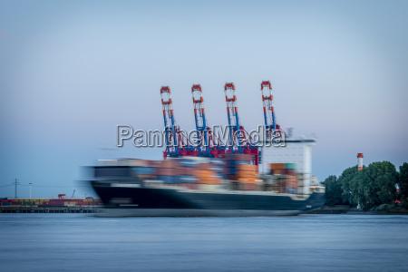 germany hamburg elbe container ship
