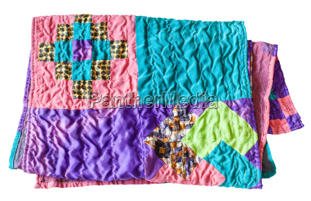 folded stitched silk patchwork scarf isolated
