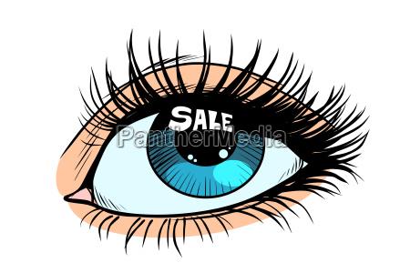 sale highlight in a woman eye