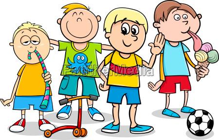 kid boys with toys cartoon illustration