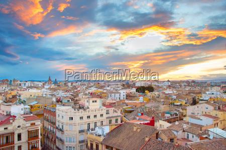 sunset skyline of valencia spain