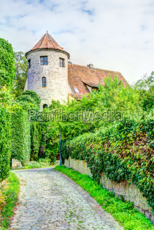 medieval defense tower in sulfeld am