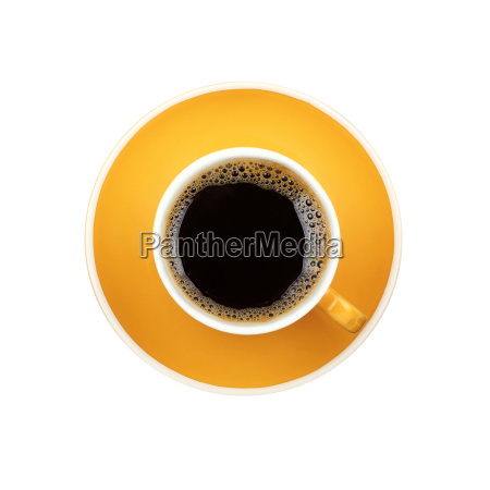 americano yellow cup and saucer isolated