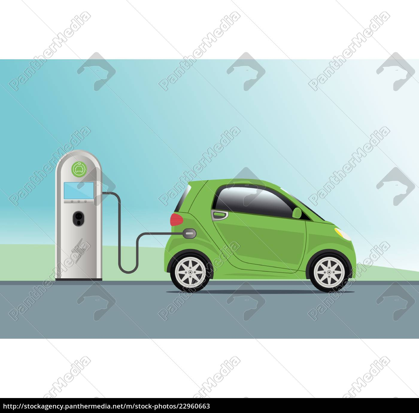 electric, car, charging, at, charger, service - 22960663