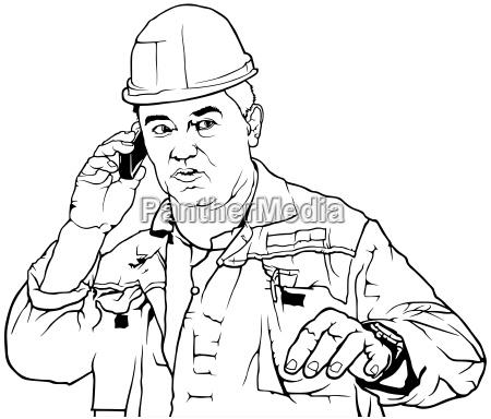 worker in work suit calls