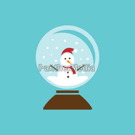 colored glass ball icon with snow