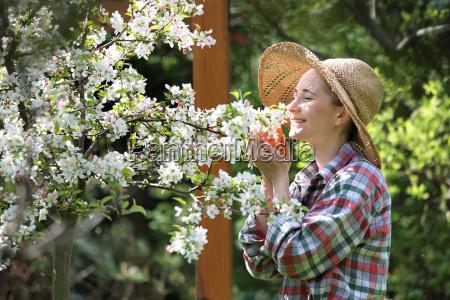 my beautiful garden happy woman watching