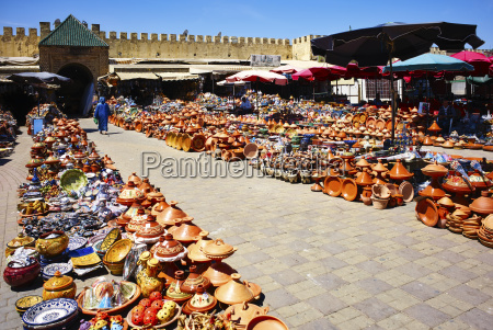 selling traditional tajine pottery at the