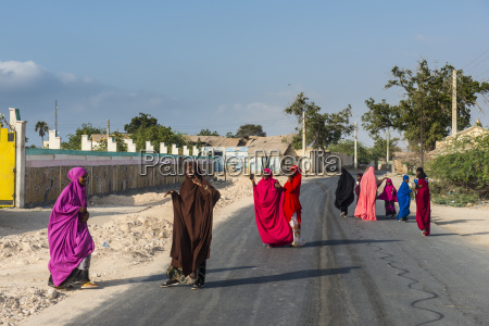 colourfully dressed muslim women in the